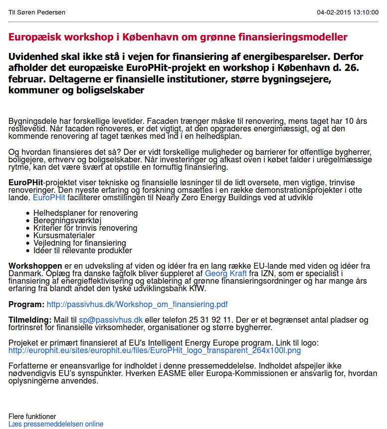 3rd Financial Workshop - Copenhagen, DK | EuroPHit
